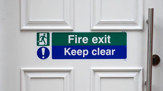 Fire exit sign.
